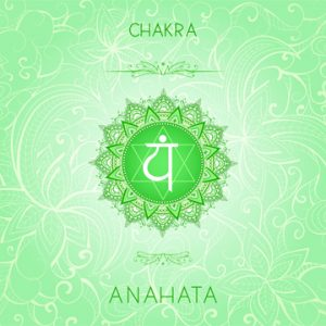 Vector illustration with symbol chakra Anahata on ornamental bac