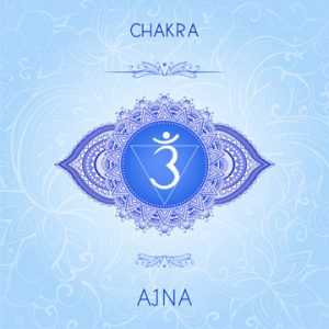 Vector illustration with symbol chakra Ajna on ornamental backgr