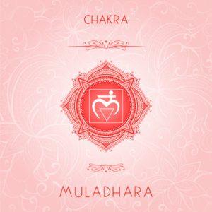 Vector illustration with symbol chakra Muladhara on ornamental b
